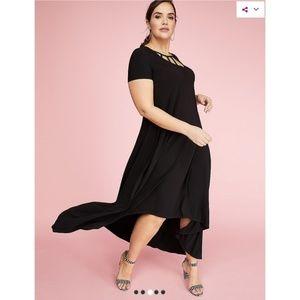 Black Hi-Low Dress with Caged Neckline NWT